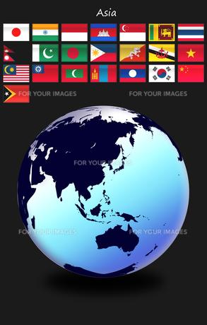 アジアの国旗と世界地図の写真素材 [FYI00447834]
