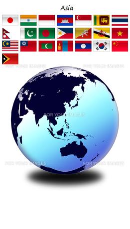 アジアの国旗と世界地図の写真素材 [FYI00447835]