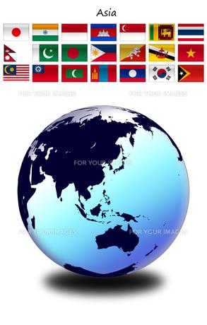 アジアの国旗と地球の写真素材 [FYI00447836]