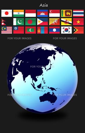 アジアの国旗と地球の写真素材 [FYI00447837]