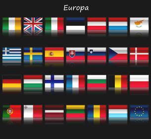 EU加盟国27ヶ国の国旗と欧州連合の旗の写真素材 [FYI00447839]