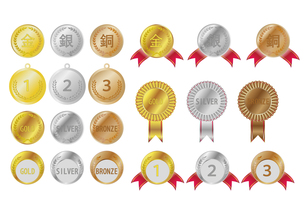 金メダル・銀メダル・銀メダルの写真素材 [FYI00447894]