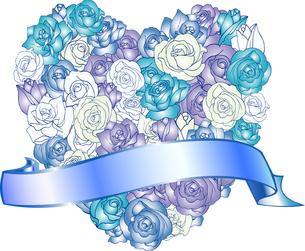 バラいっぱいのハート青リボンの写真素材 [FYI00449099]