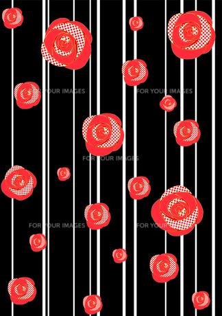 大正ロマン風着物柄バラ縞赤の写真素材 [FYI00449105]