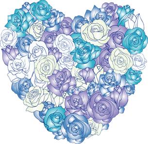 バラいっぱいのハート青の写真素材 [FYI00449112]