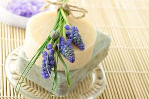 石けんとムスカリの花の写真素材 [FYI00449540]