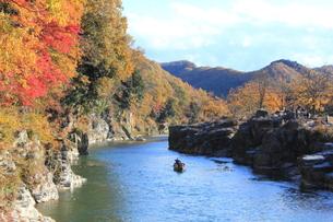 紅葉の長瀞岩畳の写真素材 [FYI00452436]