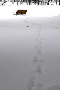 雪のベンチと足あとの写真素材 [FYI00454275]
