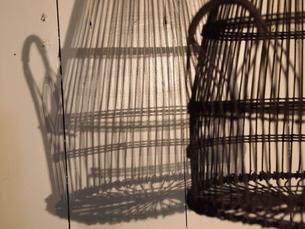 鳥かごのシルエットの写真素材 [FYI00455718]