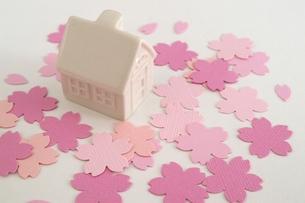 家と桜(横)の写真素材 [FYI00455837]