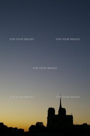 ノートルダム寺院の夕景の素材 [FYI00455857]