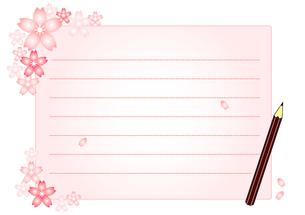 桜と便箋と鉛筆のイラストの素材 [FYI00456062]