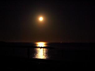 夜の海に映る満月の写真素材 [FYI00456090]