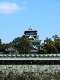 二の丸公園から望む熊本城天守閣の写真素材 [FYI00456120]
