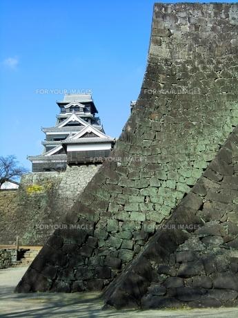熊本城の武者返しと天守閣の写真素材 [FYI00456131]