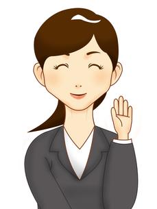 手を振るスーツの女性の写真素材 [FYI00457205]