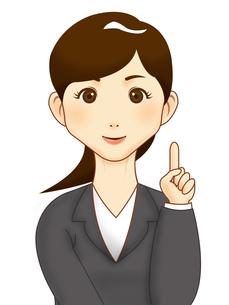 人差し指をたてるスーツの女性の写真素材 [FYI00457214]