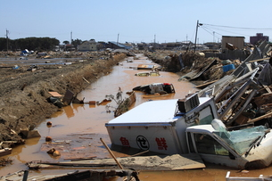 東日本大震災と津波の写真素材 [FYI00457647]