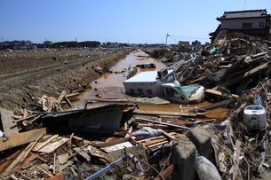 東日本大震災と津波の写真素材 [FYI00457655]