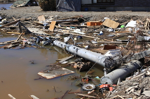 東日本大震災と津波の写真素材 [FYI00457656]