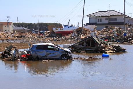 東日本大震災と津波の写真素材 [FYI00457663]