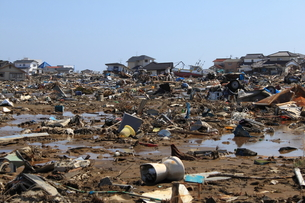 東日本大震災と津波の写真素材 [FYI00457684]