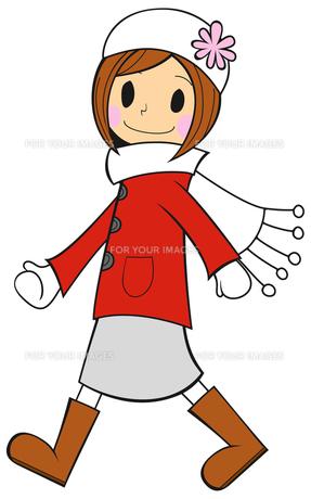 歩く冬の女の子の写真素材 [FYI00459576]