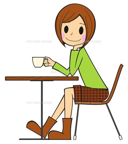 コーヒー・紅茶を飲む女性の写真素材 [FYI00459579]