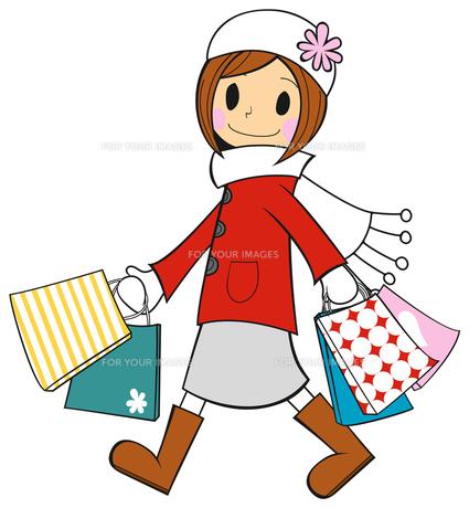 冬の女の子 冬物セール バーゲン お買物の写真素材 [FYI00459608]