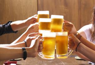 生ビールで乾杯の写真素材 [FYI00460647]
