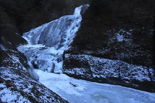 氷瀑 袋田の滝と滝川 吊橋付近から望むの写真素材 [FYI00461302]