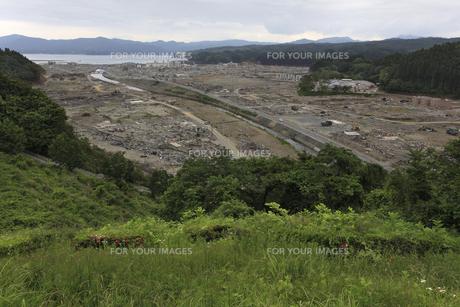 南三陸町俯瞰 復興祈る 東日本大震災の写真素材 [FYI00461416]