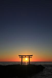 神々しい 神磯の鳥居 初日の出の写真素材 [FYI00461430]