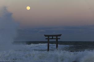 ザ・マジックアワー 神磯の鳥居 昇る満月 実写の写真素材 [FYI00461492]