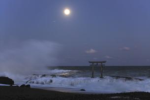 ザ・ブルーモーメント 神磯の鳥居 満月の夜 実写の写真素材 [FYI00461494]