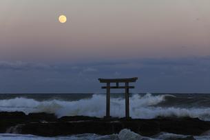 ザ・マジックアワー 神磯の鳥居 昇る満月 実写の写真素材 [FYI00461523]