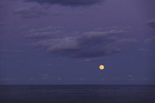 海の水平線から昇る 満月 実写の写真素材 [FYI00461539]