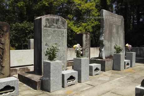 藤田東湖・藤田幽谷の墓 :(手前)東湖、(右奥)東湖の父幽谷の墓。東湖は「陽だまりの樹」(手塚治虫、NHK)に登場、水戸学の弁証家。全国の尊皇志士に大きな影響を与えた。常磐共有墓地。の写真素材 [FYI00461606]