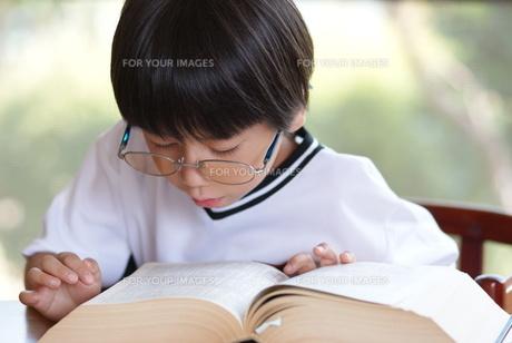 百科事典を見る子供の写真素材 [FYI00461963]