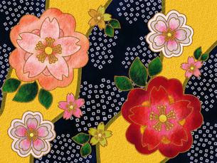 桜の着物柄‐藍の素材 [FYI00464085]