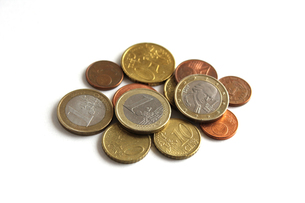 ユーロ貨幣とセント貨幣の写真素材 [FYI00465513]
