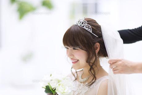 ブーケを持ち微笑む花嫁の写真素材 [FYI00465654]