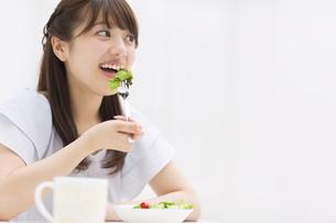 サラダを食べる女性の写真素材 [FYI00465817]