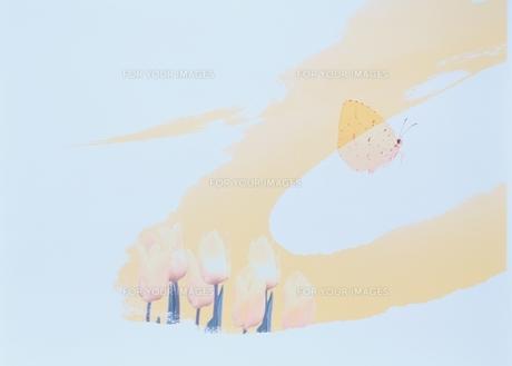 チューリップと黄蝶とペインティングの合成の素材 [FYI00466053]