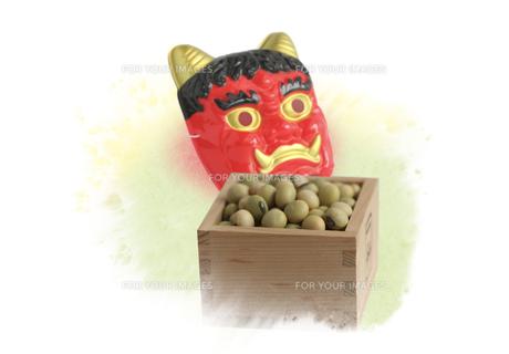 鬼の面と枡に入った豆の素材 [FYI00466120]