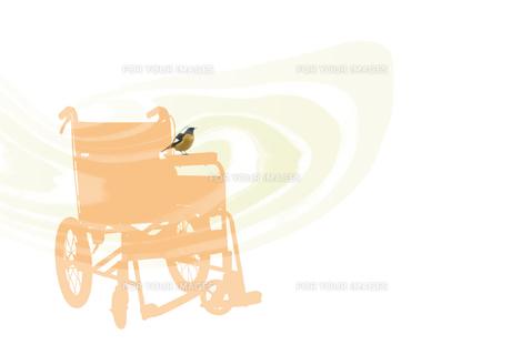 小鳥のとまる車椅子の素材 [FYI00466150]