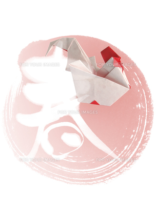 春の文字と鳥の折り紙の素材 [FYI00466154]