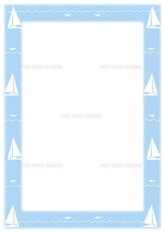 ヨットとカモメのフレームの写真素材 [FYI00466209]