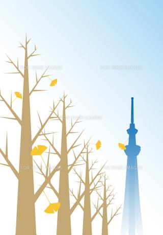 落葉舞う銀杏並木とスカイツリーの写真素材 [FYI00466244]