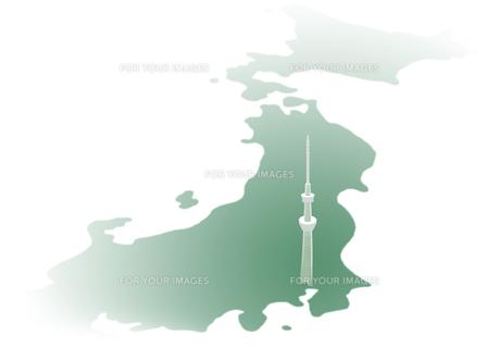 日本地図とスカイツリーの素材 [FYI00466246]
